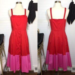NEW Gianni Bini Color Block Midi Jumper Dress